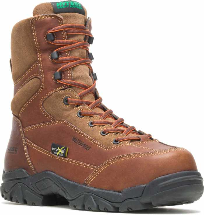 HYTEST 14261 Brown Electrical Hazard, Composite Toe, Poron XRD Met-Guard, Waterproof, Non-Metallic Men's 8 Inch Boot