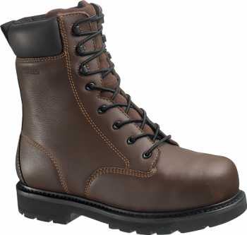 HYTEST 14671 Men's Brown Slip Resistant EH Steel Toe Internal Met Gard 8 Inch Work Boot