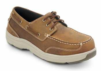 HYTEST 30433 Brown Electrical Hazard, Steel Toe Men's Boat Shoe