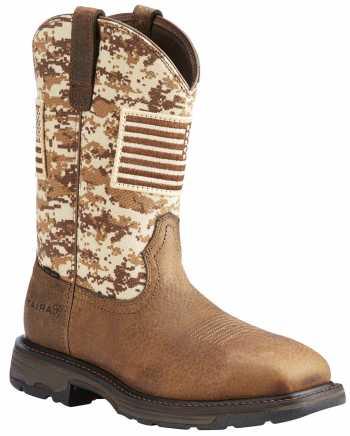 Ariat AR10022968 WorkHog Patriot, Men's, Earth/Camo, Steel Toe, EH, Pull On Boot