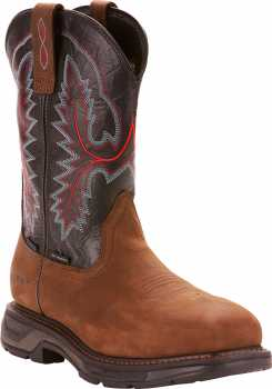 Ariat AR10024968 Work Hog XT, Men's, Brown, Carbon Toe, EH, WP, 11 Inch, Pull On Boot