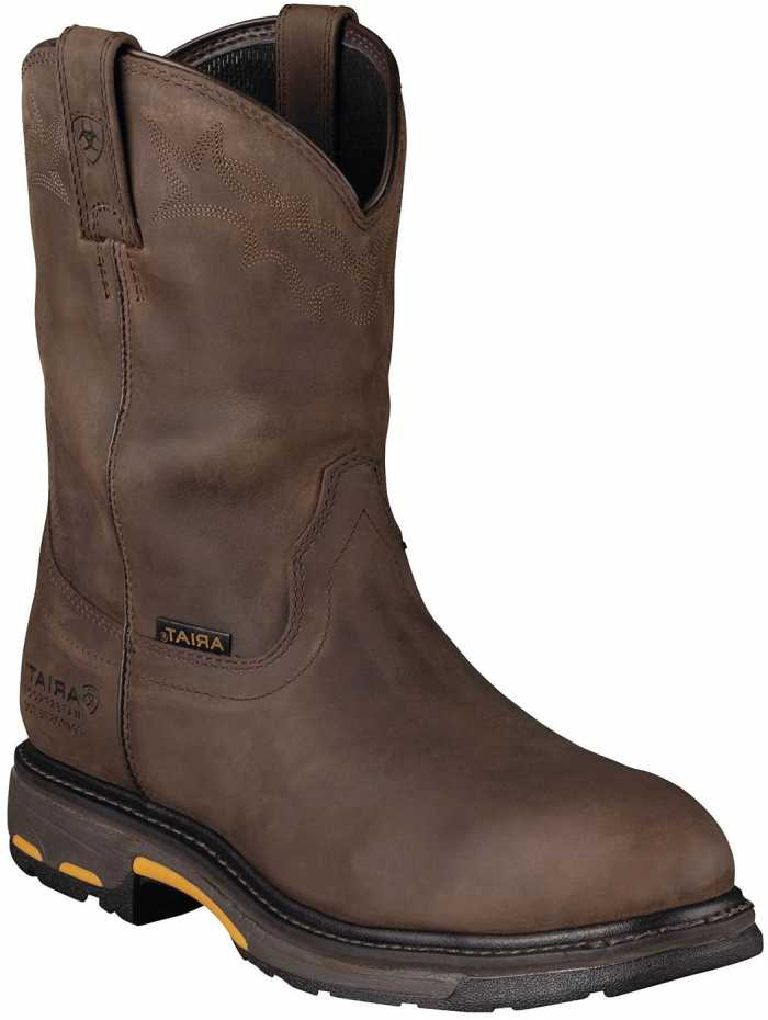 Ariat 1200 Workhog Men's Distressed Brown Slip Resistant Composite Toe Waterproof Wellington