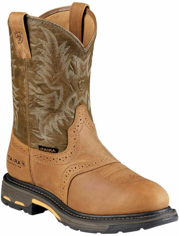 Ariat AR8635 Workhog Aged Bark, Waterproof, Comp Toe, EH, Men's 10 Inch