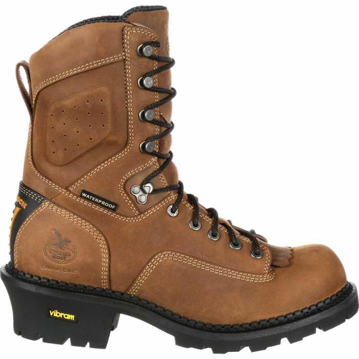 Georgia Boot GAGB00097 Comfort Core Men's, Brown, Comp Toe, EH, Waterproof, 9 Inch Logger