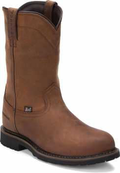 Justin JUWK4961 Drywall, Men's, Brown, Steel Toe, EH, WP, 10 Inch, Pull On Boot