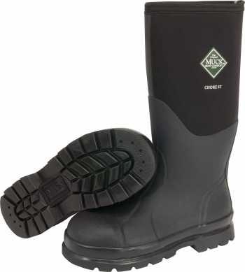 Muck CHS000A Chore Steel Toe-Hi, Unisex, Black, EH, Waterproof, 16 Inch Boot