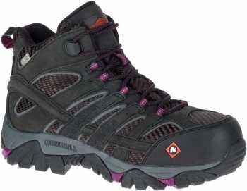 Merrell MLJ15876 Moab 2 Vent Mid Women's, Black, Comp Toe, EH, Waterproof Hiker
