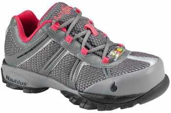 Nautilus N1393 Women's, Grey/Pink, Steel Toe, SD, Athletic Oxford