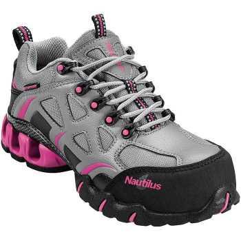 Nautilus 1851 Grey/Pink Waterproof, Nonmetallic, Composite Toe, EH, Low Athletic
