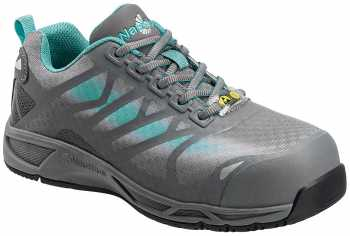 Nautilus N2485 Women's, Grey /Aqua, Comp Toe, SD, Athletic Oxford