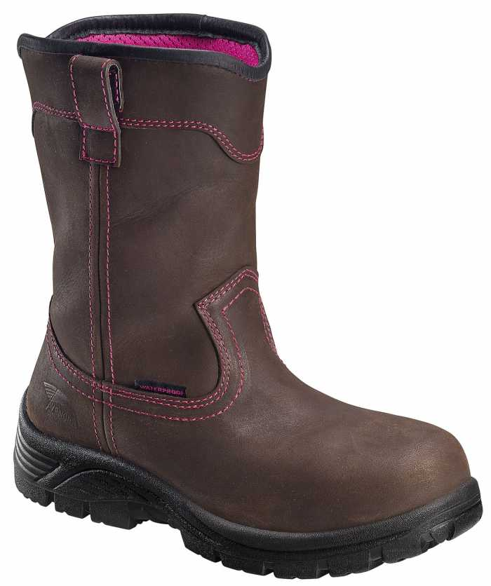 Avenger N7146 Women's, Brown, Comp Toe, EH, WP, Pull On Boot