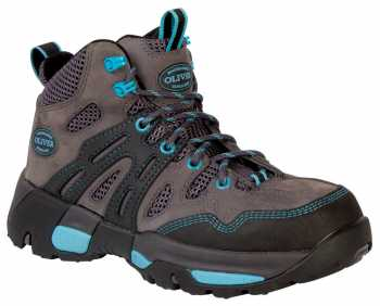 Oliver OL21112 Women's Black/Grey/Bright Blue, Steel Toe, Waterproof, EH, Hiker