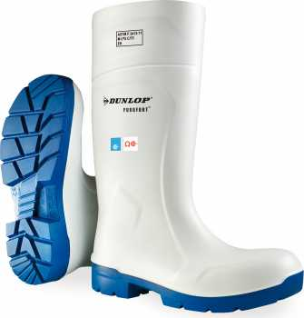 Dunlop ON5113155 Purofort, Men's, White, Steel Toe, EH, PR, Pull On Boot