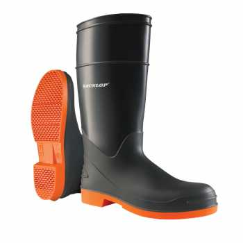 Dunlop 87983 Men's Grey/Orange 16 Inch PVC Waterproof, Slip Resistant, Soft Toe, Pull On Boot
