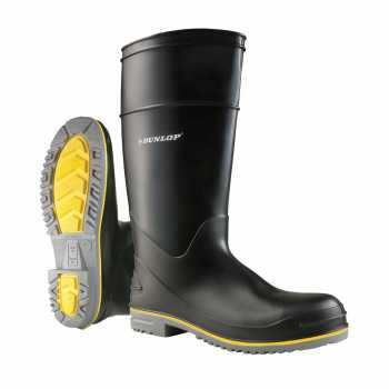 Dunlop 89904 Men's Black 16 Inch Waterproof, Polyblend PVC, Soft Toe, Pull On Boot