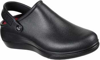 SKECHERS Work SK108051BBK Amreli, Women's, Black, Soft Toe, Slip Resistant Clog