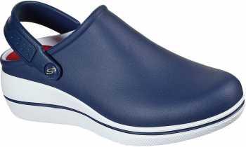 SKECHERS Work SK108051NVW Amreli, Women's, Navy/White, Soft Toe, Slip Resistant Clog