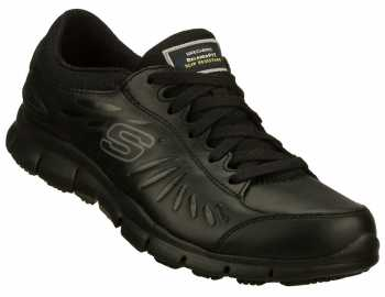 SKECHERS Work SK76551BLK Women's Relaxed Fit:Eldred Black, Soft Toe, Slip Resistant Athletic