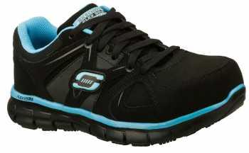 Skechers Work SK76553BKBL Women's Synergy-Sandlot Black/Blue, Alloy Toe, EH, Slip Resistant Athletic