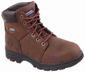 Skechers Work SK77009CDB Men's Relaxed Fit Workshire ST, Brown, Steel Toe, EH, 6 Inch Boot