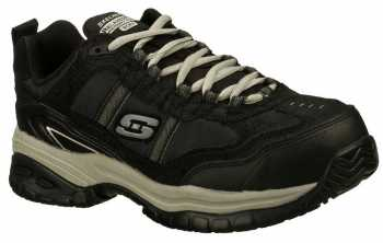 Skechers Work SK77013BKGY Men's Relaxed Fit:Soft Stride-Grinnell Black/Grey, Slip Resistant, Comp Toe, EH, Athletic