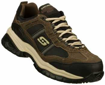 Skechers SK77013BRBK Grinnell Men's, Brown/Black, Comp Toe, EH, Low Athletic