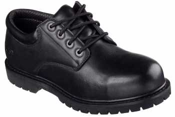 SKECHERS Work SK77041BLK Cottonwood-Elks Men's Black, Soft Toe, Slip Resistant Oxford
