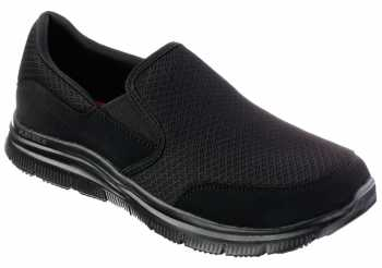 SKECHERS Work SK77048BBK McAllen Men's Black, Soft Toe, Twin Gore, Slip Resistant Slip On
