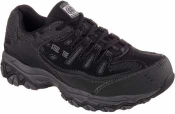 Skechers SK77055BKCC Crankston, Men's, Black, Steel Toe, EH, Low Athletic