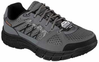 Skechers SK77084GYBK Conroe-Dierks, Men's Grey, Soft Toe, SD, Low Athletic