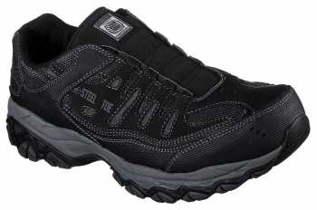 Skechers SK77161BLK Men's Black, Steel Toe, EH, Sport Slip On