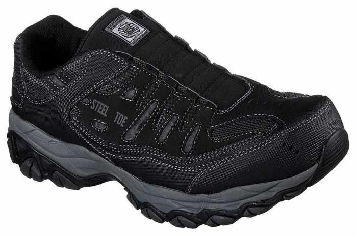 SKECHERS Work SK77161BLK Crankton Men's Black, Steel Toe, EH, Sport Slip On
