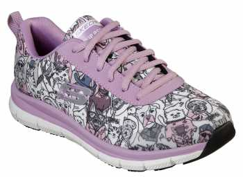 SKECHERS Work SK77270LVMT Happy Tails, Lavender/Multi, Soft Toe, EH, Slip Resistant Oxford