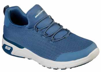 SKECHERS Work SK77281BLU Marsing-Waiola, Women's, Blue/White, Soft Toe, Slip Resistant Athletic