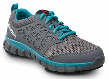 Reebok Work SRB030 Sublite, Women's, Grey/Turquoise, Athletic Style Slip Resistant Soft Toe Work Shoe