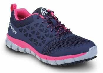 Reebok SRB032 Sublite Cushion Work, Navy/Pink, Women's, Athletic Style Slip Resistant Soft Toe Work Shoe