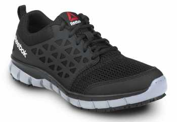 Reebok SRB033 Sublite Cushion Work, Black/Gray, Women's, Athletic Style Slip Resistant Soft Toe Work Shoe
