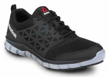 Reebok SRB3201 Sublite Cushion Work, Black/Gray, Men's, Athletic Style Slip Resistant Soft Toe Work Shoe