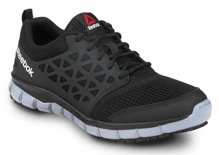 Reebok Work SRB3201 Sublite Cushion Work, Black/Gray, Men's, Athletic Style Slip Resistant Soft Toe Work Shoe