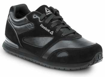 Reebok Work SRB972 Prelaris, Black/Grey, Women's, Jogger Style Slip Resistant Soft Toe Work Shoe
