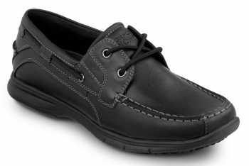 Rockport SRK222 Women's Hampton Black, Soft Toe, Slip Resistant, Boat Shoe