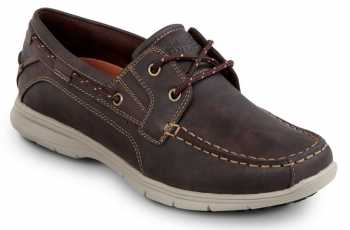 Rockport Works SRK2221 Men's Hampton Brown, Boat Shoe Style Slip Resistant Soft Toe Work Shoe