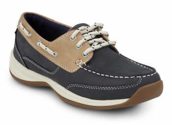 Rockport Works SRK920 Badin Women's Blue/Tan Soft Toe, MaxTrax Slip Resistant, Boat Shoe