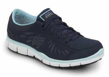 Skechers SSK405NVAQ Stacey Navy/Acqua Soft Toe, Slip Resistant, Low Athletic