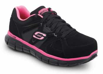 Skechers SSK406BKPK Jackie Women's Black Nubuck with Pink Trim Athletic Aluminum Alloy Electric Hazard Slip Resistant