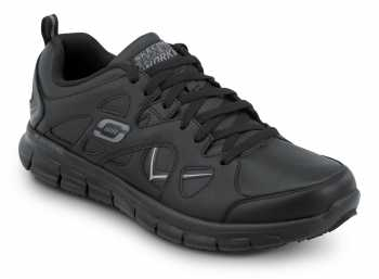 SKECHERS Work SSK605BLK David Black Soft Toe, Slip Resistant, Low Athletic