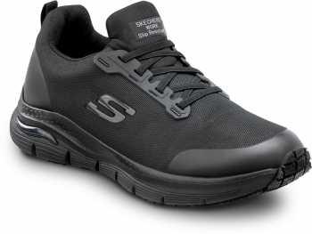 Skechers Arch Fit SSK8037BLK Charles, Men's, Black, Alloy Toe, Slip Resistant, Slip On Athletic
