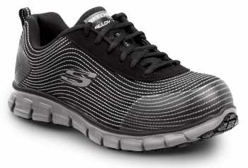 SKECHERS Work SSK8173BLK Mia, Women's, Black, Alloy Toe, EH, Slip Resistant Low Athletic