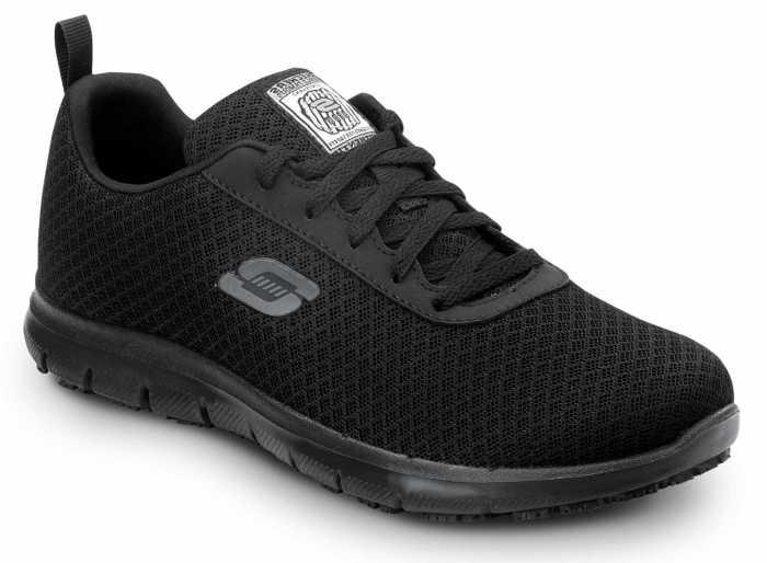 SKECHERS Work SSK8174BLK Ava Women's Black Soft Toe, MaxTrax Slip Resistant, Low Athletic