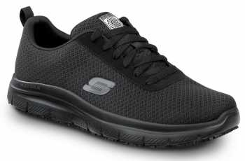 SKECHERS Work SSK9159BLK Luke, Men's, Black, Soft Toe, Slip Resistant Lace Up
